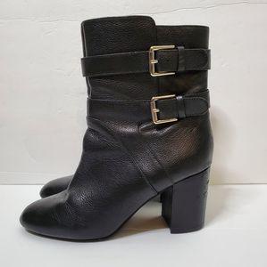Nine West leather black block heel booties sz 8
